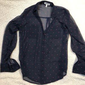 Express The Portofino Shirt navy w/pink hearts